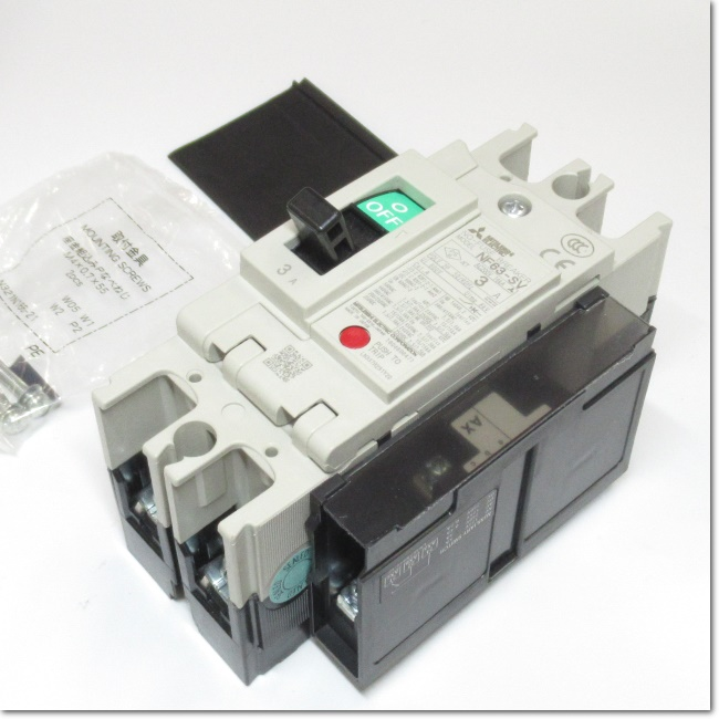 NF63-SV,2P 3A ノーヒューズ遮断器 補助スイッチ付き (三菱電機)