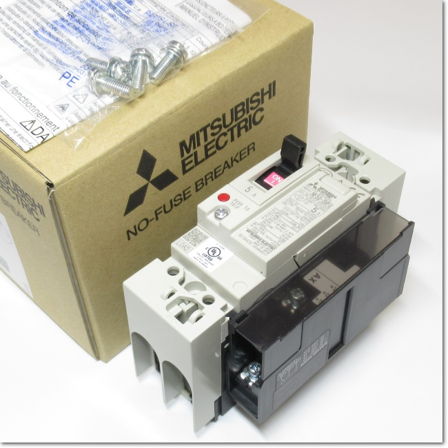 NF50-SVFU,2P 5A  UL 489Listedノーヒューズ遮断器 補助スイッチ付き (三菱電機)